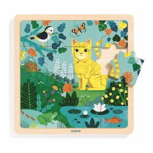 Dřevěné puzzle Djeco Kočka v zahradě