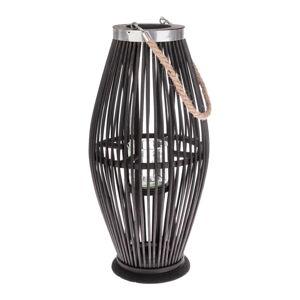 Černá skleněná lucerna s bambusovou konstrukcí Dakls, výška 49 cm