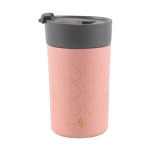 Růžový cestovní termohrnek Navigate Hearts, 300ml