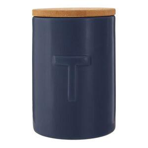 Tmavě modrá dóza na čaj s bambusovým víkem Premier Housewares Fenwick