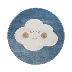 Modrý kulatý koberec s motivem mraku KICOTI Blue Cloud, ø 133 cm