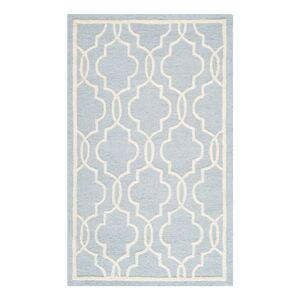 Světle modrý vlněný koberec Safavieh Elle, 91x152cm