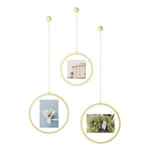 Sada 3 závěsných rámů ve zlaté barvě na fotografie Umbra Luna