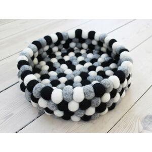 Černo-bílý kuličkový vlněný úložný košík Wooldot Ball Basket, ⌀28 cm