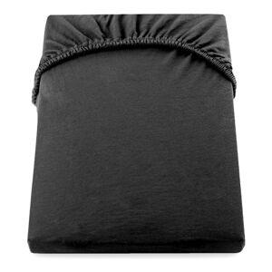 Černé elastické prostěradlo DecoKing Nephrite, 160/180 x 200 cm