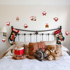 Sada 9 vánočních samolepek Ambiance Funny Santa Claus