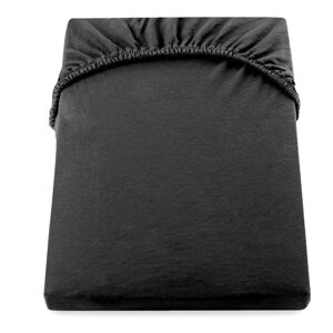 Černé elastické bavlněné prostěradlo DecoKing Amber Collection, 180-200x200 cm