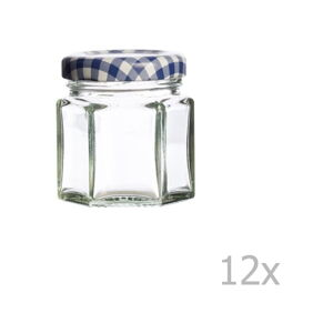 Sada 12 zavařovacích sklenic s modrým víčkem Kilner Hexagonal, 48ml