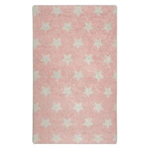 Růžový dětský protiskluzový koberec Chilai Stars,140x190cm
