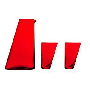 Set červené ručně vyrobené karafy a 2 sklenic Surdic Ponza