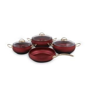 4dílná sada červeného hliníkového nádobí se 3 poklicemi Güral Porselen Ruby