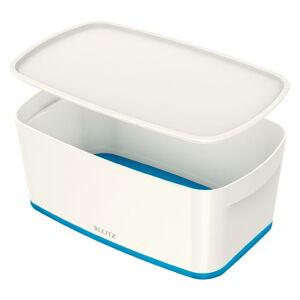 Bílo-modrý úložný box s víkem Leitz Office, objem 5 l