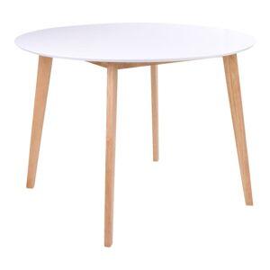 Jídelní stůl s kulatou bílou deskou loomi.design Vojens, ⌀ 105cm