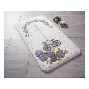 Vzorovaná fialová předložka do koupelny Confetti Bathmats Vintage Bike, 80 x 140 cm