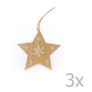 Sada 3 dřevěných závěsných hvězd Dakls Snowflake, výška 11 cm