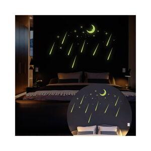 Nástěnné samolepky svítící ve tmě Ambiance Moon And Falling Stars