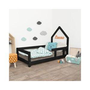 Černá dětská postel domeček s pravou bočnicí Benlemi Poppi, 90 x 160 cm