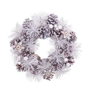 Bílý závěsný vánoční věnec Unimasa, ø 24 cm