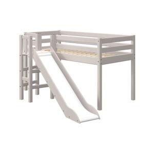 Šedá dětská postel z borovicového dřeva se skluzavkou Flexa Classic Slide, výška 120 cm