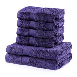 Set 2 bavlněných fialových osušek a 4 ručníků DecoKing Marina
