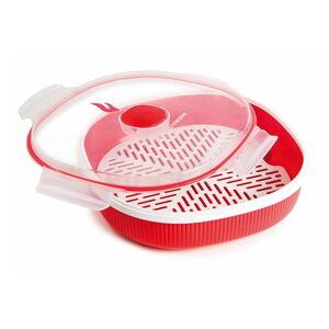 Červená sada na napařování potravin v mikrovlnce Snips Dish Steamer, 2l