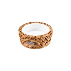 Porcelánová servírovací miska v béžovém košíku Saleen, ⌀ 10,5 cm