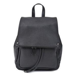 Černý kožený batoh Roberta M, 24 x 34 cm