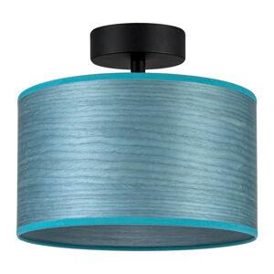 Modré stropní svítidlo z přírodní dýhy Bulb Attack Ocho S, ⌀ 25 cm