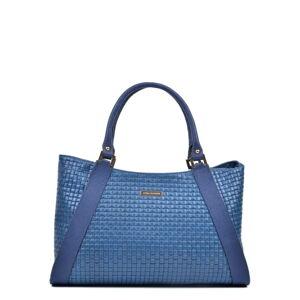 Modrá kožená kabelka Luisa Vannini, 28 x 42 cm