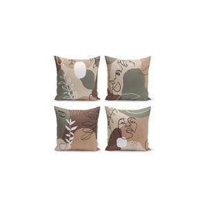 Sada 4 povlaků na polštáře Minimalist Cushion Covers Drawing Face, 45 x 45 cm