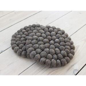Ořechově hnědý kuličkový podtácek z vlny Wooldot Ball Coaster, ⌀ 20 cm
