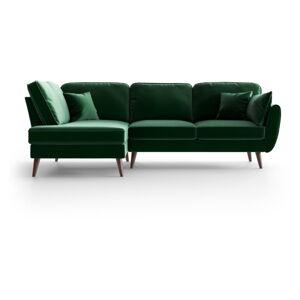 Zelená sametová rohová pohovka My Pop Design Auteuil, levý roh