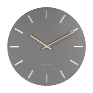 Šedé nástěnné hodiny s ručičkami ve zlaté barvě Karlsson Charm,ø30cm