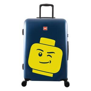 "Modrý kufr na kolečkách LEGO® Luggage Minifigure Head 24"""