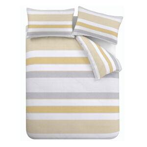 Žluto-šedé povlečení Catherine Lansfield Newquay Stripe, 135 x 200 cm