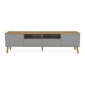 Šedý TV stolek s nohami z dubového dřeva Tenzo Dot, šířka 192 cm