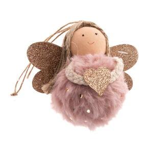 Růžová textilní závěsná ozdoba ve tvaru anděla Dakls, délka 9 cm