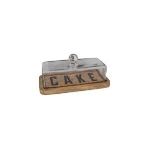 Dřevěný podnos na dort se skleněným poklopem Antic Line Cake