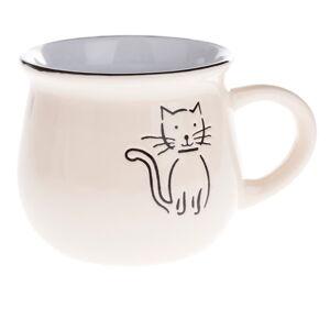 Béžový keramický hrneček s obrázkem kočky Dakls, objem 0,3 l