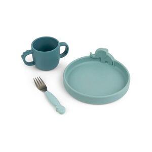 3dílný modrý dětský jídelní set Done by Deer Peekaboo Dinner