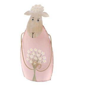 Růžová dekorativní kovová soška ovečky Dakls