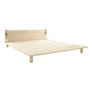 Dvoulůžková postel z masivního dřeva s lampami Karup Design Peek, 160 x200 cm