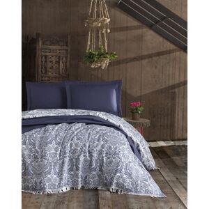 Tmavě modrý bavlněný přehoz na dvoulůžko EnLora Home Nish, 240 x 260 cm