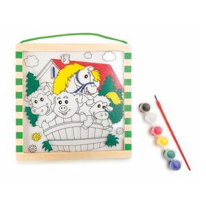 Dřevěné omalovánky s barvami a štětcem Legler Animals