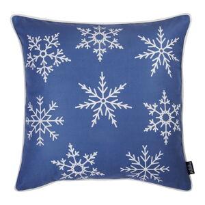 Modrý povlak na polštář s vánočním motivem Mike&Co.NEWYORK Honey Snowflakes, 45 x 45 cm