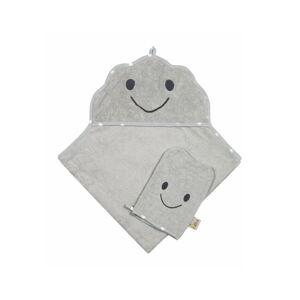 Set šedého ručníku a rukavice Nattiot