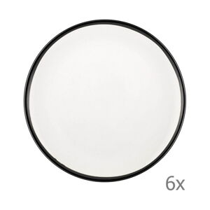 Sada 6 bílých porcelánových dezertních talířů Mia Halos Black, ⌀ 19 cm