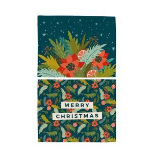 Sada 2 bavlněných prostírání s vánočním motivem Butter Kings Happy Merry,45x35cm
