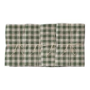 Sada 4 látkových ubrousků s příměsí lnu Linen Couture Green Vichy, 43 x 43 cm