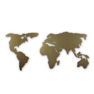 Nástěnná kovová dekorace Gold Map, 60x120 cm